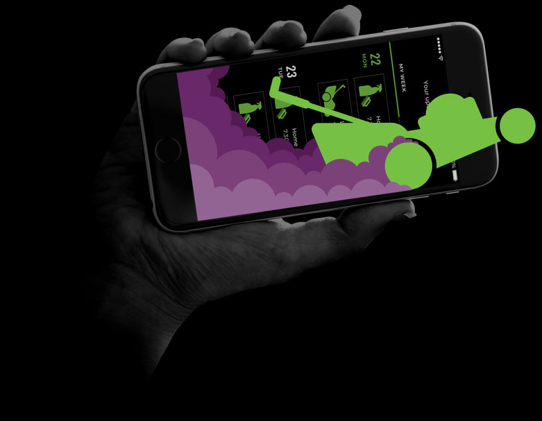 A persons hand holding an iphone with the Green Acres Go app open. An image of a lawnmower leaving a trail of smoke runs across the screen in green and purple.
